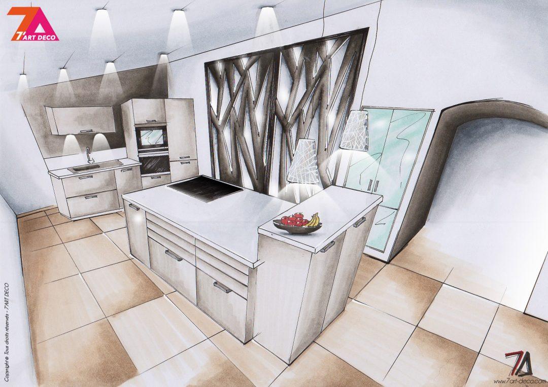 perspective 3d croquis decoration interieur