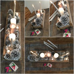 centre de table-bois-bougies-original-pigne de pin-diy-noel