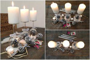centre de table-verre à pied-bois-bougies-original-pigne de pin-diy-noel