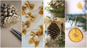 decoration-sapin-pâte-pigne de pin-ruban-original-diy-noel