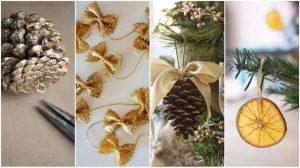 decoration-sapin-pâte-pigne de pin-ruban-original-diy-noel